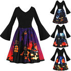 Women Long Sleeve Vintage Pumpkins Halloween Evening Prom Costume Swing Dress