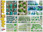 GREEN CRYSTALS DROPS CUT GLASS BEADS DROPLETS LIGHT LAMP PARTS ANTIQUE COLOURS