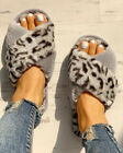WOMEN LEOPARD PRINTED FAUX FUR FLUFFY FLAT SLIPPERS LADIES SLIP ON SHOES SIZE UK