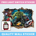 3D Marvel Avengers Hole In Wall Sticker Art Decal Decor Kids Bedroom Decoration