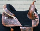 USED WESTERN TREELESS COMFY HORSE RIDING DRAFT SADDLE COWHIDE LEATHER TRAIL
