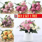 Uk Silk Peony Artificial Flowers Fake Rose Bouquet Wedding  Home Party Decor
