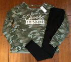 NWT JUSTICE GIRLS 10 14/16 OUTFIT~ CAMO LIGHTWEIGHT SWEATSHIRT/ LEGGINGS