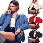 Womens Winter Quilted Padded Down Jacket Fur Collar Hooded Parka Coat Outwear
