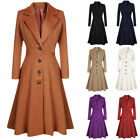 Womens Winter Lapel Button Long Trench Coat Jacket Dress Ladies Overcoat US 4-14