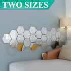 12pcs Mirror Hexagon Stickers Wall Home Decor Diy Art Removable 2 Sizes Room Au