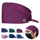 Unisex Scrub Caps Bouffant Hat With Buttons Cotton Adjustable Head Working Cover