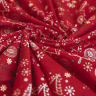 Sketched Modern Christmas Trees Stars Print on 100% Cotton Fabric Red & Gold