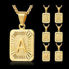 Fashion Gold Filled A-z Initial Letter Pendant Necklace Box Chain Unisex Gift