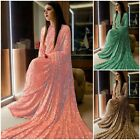 Georgette Saree New Sequence work attractive Blouse fancy Sari Indian Fashion KR