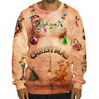 Mens Funny T Shirt Christmas Sweatshirt Fancy Print Party Pullover Jumper Tops