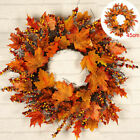 60CM Halloween Decor Fall Door Pumpkin Wreath Autumn Color Maple Leaf Garland