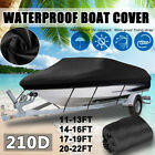 11-16ft Boat Cover Trailerable V-hull Fish Ski Runabout Waterproof Heavy Duty