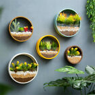 Modern Round Iron Glass Art Hanging Flower Pot Wall Vase Planter Home Decoration