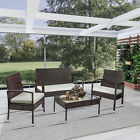 4 Piece Patio Furniture Sofa Seat Outdoor Ratten Set Chair&table Backyard Garden