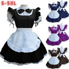 Women Short Sleeve Doll Collar Retro Maid Dress Cute French Maid Outfit Costume