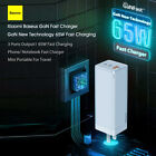 Baseus GaN Charger 65W USB QC3.0 PD2.0 Charger Adapter 90°Foldable Portable D2P4