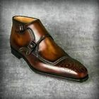 New Handmade Men's Chukka Brown Double Monk Leather Ankle High Boots for Men