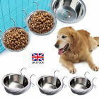 Puppy Pet Dog Cat Cage Coop Cup Crate Food Water Bowl Hanger Stainless Steel UK