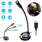 RGB USB Computer Condenser Microphone Stand Recording Mic for PC Desktop Laptop