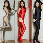 Women Shiny Satin Bodysuit High Cut Leotard Zipper Jumpsuit  Stockings  Gloves