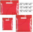 NEW RED COLOURD PATCH HANDLE PLASTIC CARRIER BAGS RETAIL SHOP STORE