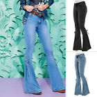 Women's High Waist Denim Jeans Stretch Bell Bottom Pants Flare Wide Leg Trousers