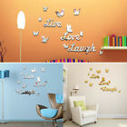 Live Love Laugh Quotes Butterfly Wall Art Stickers Living Room Decal Home Decor