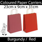 Red Burgundy Twist Handle Paper Carrier Bags Shopping Christmas Gift Bag