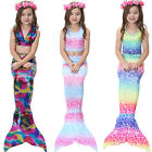3pcs/set Fairy Kid Girls Mermaid Tail Bikini Set Swimwear Swimming Fancy Dresses