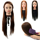 """PRO Real Synthetic Hair Practice Head Training Mannequim Clamp 24"""" E0F1"""