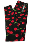 Leggings Depot ONE SIZE and PLUS SIZE Leggings Black, Cherry Red Print