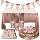 Rose Gold Tableware Dinnerware Party Decorations Birthday Wedding Anniversary