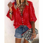 Summer Women Short Sleeve T Shirt V-Neck Tops Casual Floral Tunic Loose Blouse