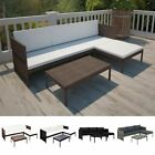 3 Pcs Garden Lounge Set Rattan Sofa Cushioned Couch Seat Patio Outdoor Furniture