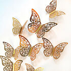 12pcs 3d Butterfly Hollow Wall Stickers Art Decals Home Room Decorations Dey^qi
