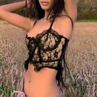 Women Spaghetti Strap Crop Top Double Layer Floral Lace Bow Zip Back Camisole