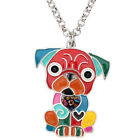 Enamel Alloy Cute Sitting Pug Dog Necklace Pendant Jewelry For Women Kids Gifts