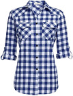 Genhoo Women's Roll Up Long Sleeve Tartan Plaid Collared Button Down Boyfriend C