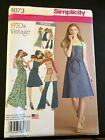 Simplicity Pattern 8073 Ms 1970s VINTAGE Apron Dress in 3 Lengths SO CUTE