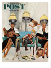 Cowboy Asleep in Beauty Salon Saturday Evening Post Cover, May 6, 1961