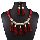 Leather Tassel Necklace And Earring Set African Jewelry Sets For Women