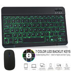 Wireless Bluetooth Backlit Keyboard& Mouse For Ipad Android Windows Tablet Pc