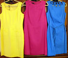 Talbot Pink Blue Yellow Linen Slvless Dress 10 12 14 16