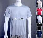 MENS 100% MULBERRY SILK T SHIRTS SHORT SLEEVE CASUAL TOP UNDERWAER CREW NECK TEE