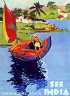 3555.Vintage Poster.Powerful Graphic Design.See INDIA.Ride.Travel Art Decor