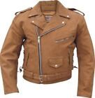 Men's Brown Motorcycle Jacket W Side Laces/Liner