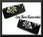 NEW BLACK LACE & METALLIC EVENING ENVELOPE CLUTCH BOX BAG & CHAIN SHOULDER STRAP