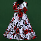 UsaG w025 b12 White Red Purple Grey Trendy Pattern X'mas Party Girl Dress 3-12y