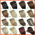 hot !  clip in 100% realL  human hair extensions 16inches 7pcs